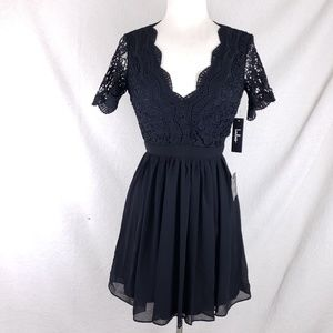 b2c1bf39673 Lulu s Dresses - Lulu s Angel In Disguise Black Lace Skater Dress
